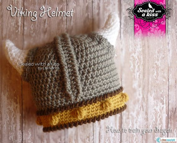 Viking Helmet Crochet, Viking hat, Viking crochet, Viking hat with ...