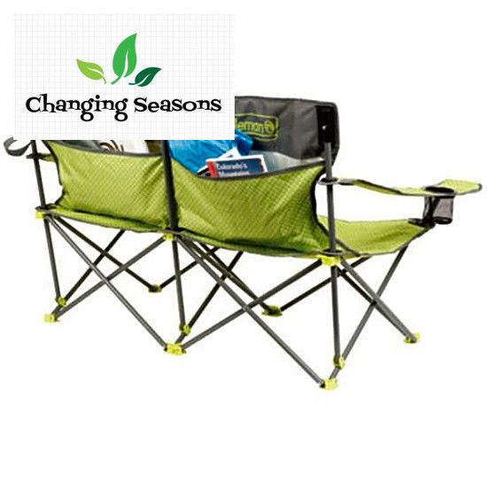 2 person camping chair karlstad slipcover love seat portable folding outdoor patio pockets fishing coleman