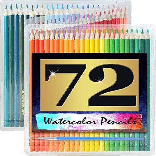 Artist's Choice 72 Pack Watercolor Pencils with Paintbrush ...