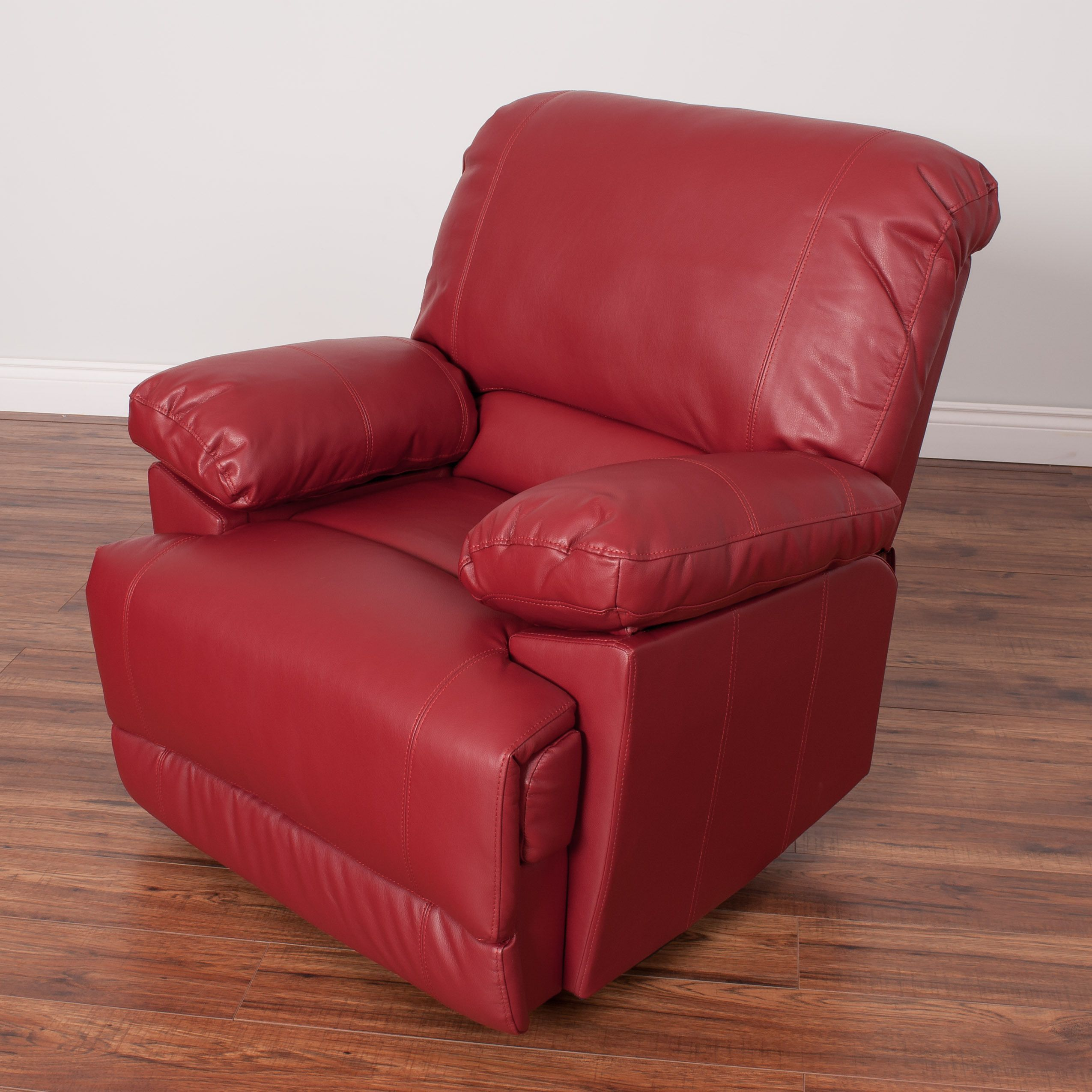Corliving lea bonded leather reclining chair red with