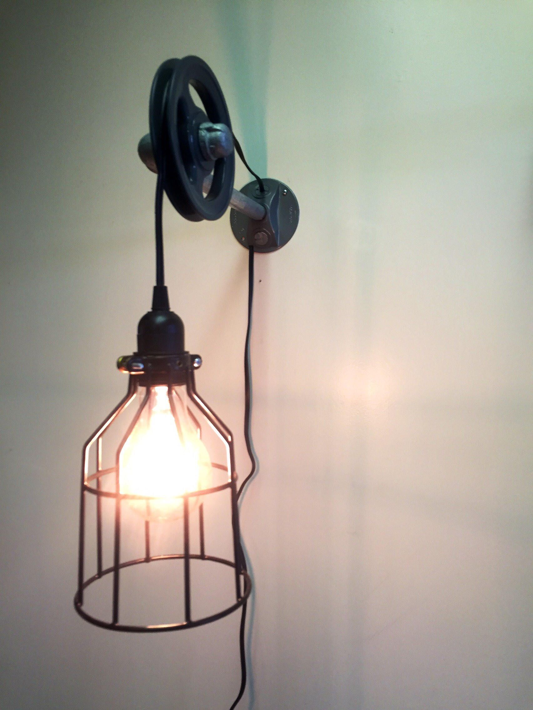 Pulley Light Fixture with Cage Pendant, Industrial