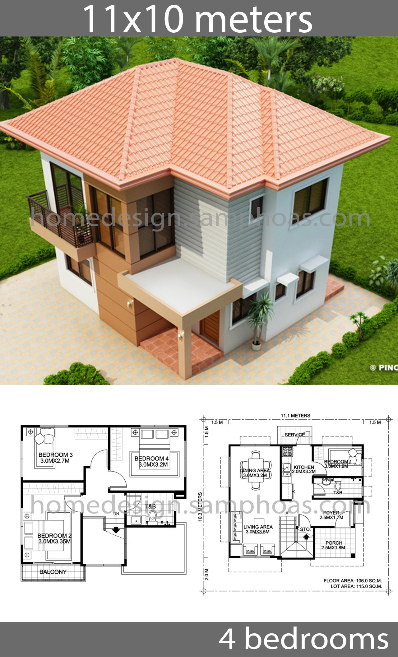 House Design Plans 10x11m With 4 Bedrooms Home Ideas Affordable House Plans Architecture Model House Beautiful House Plans