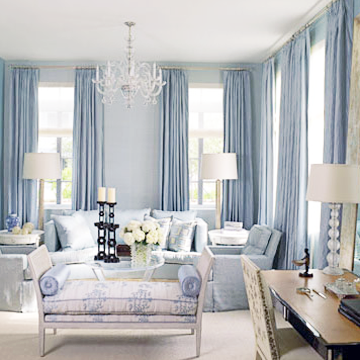 Living Room Blue And Cream Curtains