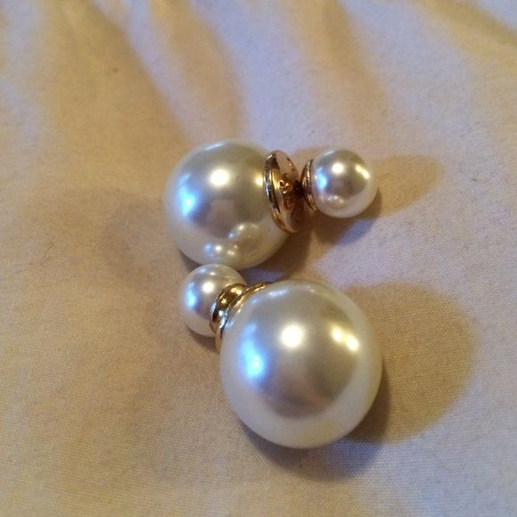 Dior style Tribal earrings, pearl Tribal earrings, never worn, pearl with gold, has markings on them of the original designer Jewelry Earrings