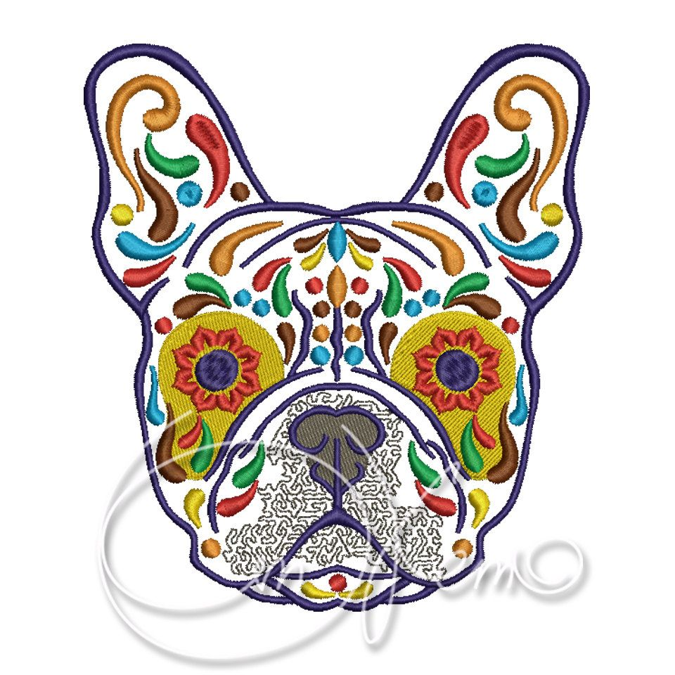 Machine embroidery design calavera french bulldog dia