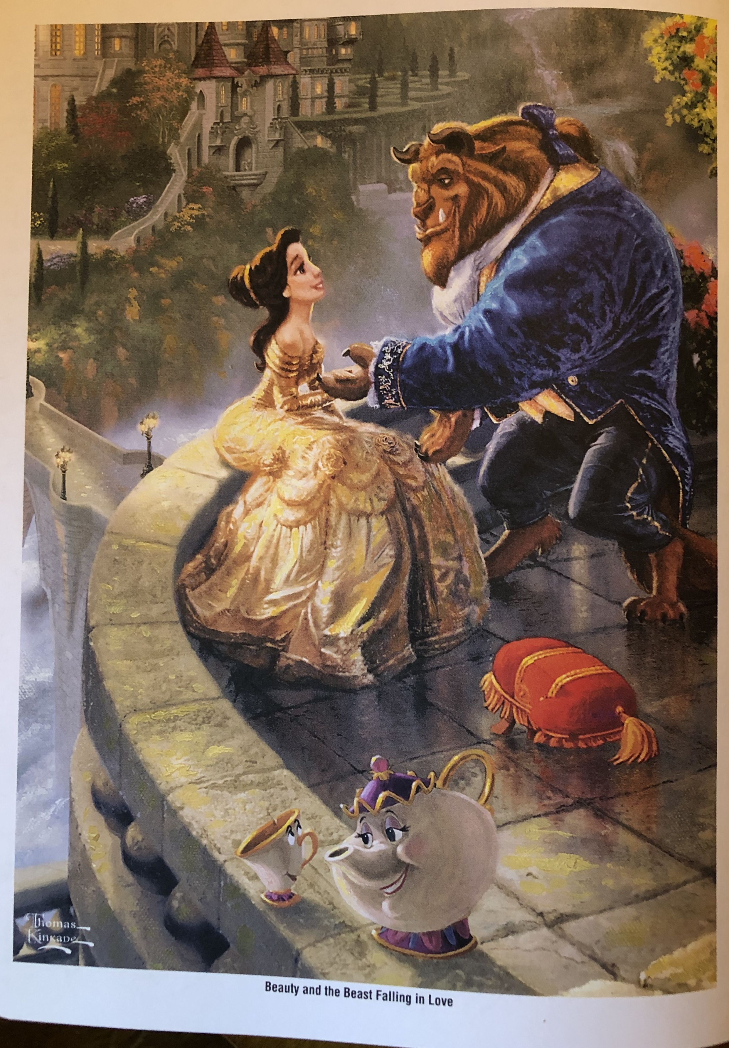 Beauty And The Beast Falling In Love Thomas Kinkade Disney Paintings Thomas Kinkade Disney Kinkade Disney