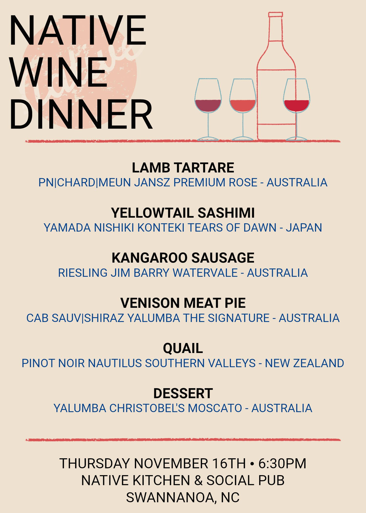 Native Kitchen & Social Pub\'s first ever wine dinner is coming 11/16 ...