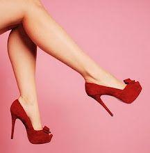 Red peep toe pumps