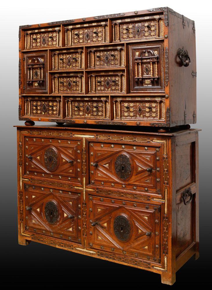 Importante bargue o con taquill n espa a siglo xvii - Muebles antiguos madrid ...