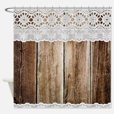 Rustic Barn Wood Lace Shower Curtain For