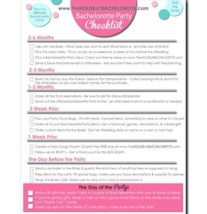 Free Bachelorette Party Checklist Printable  The WorldS Most