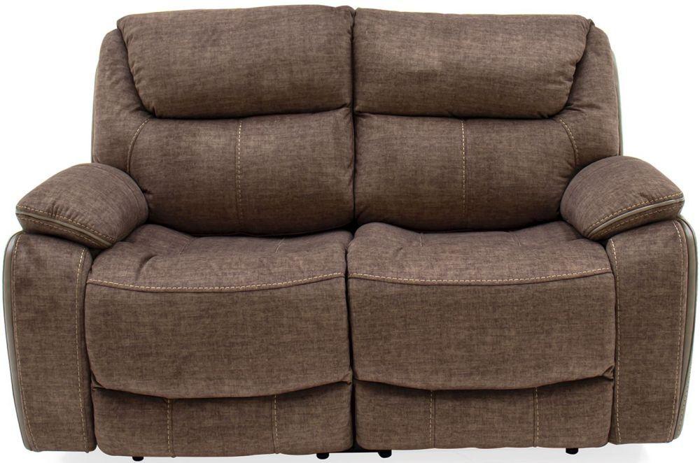 Vida Living Santiago 2 Seater Recliner Sofa Brown Fabric Reclining Sofa Recliner Sofa