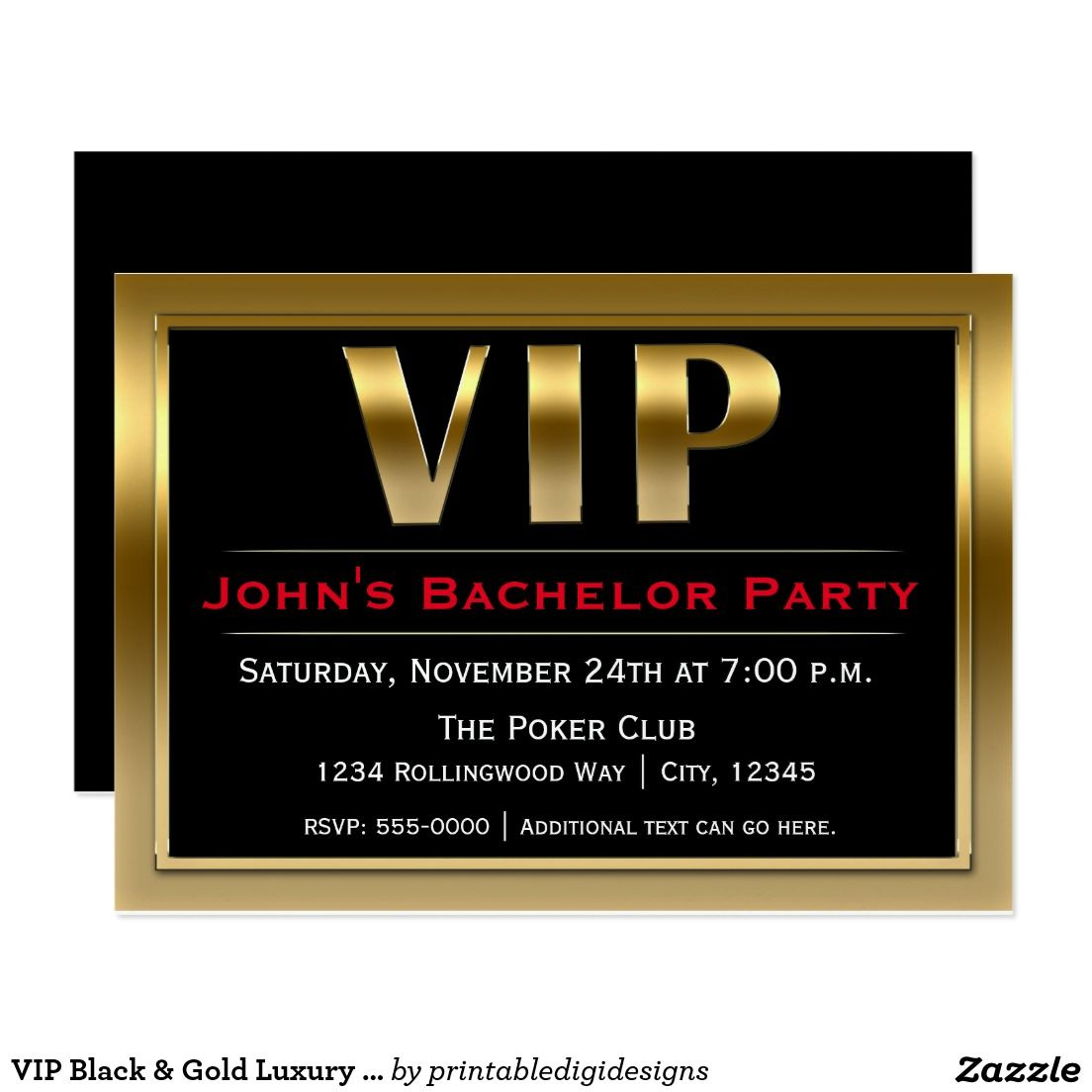 VIP Black Gold Luxury Party Invitation – Luxury Party Invitations