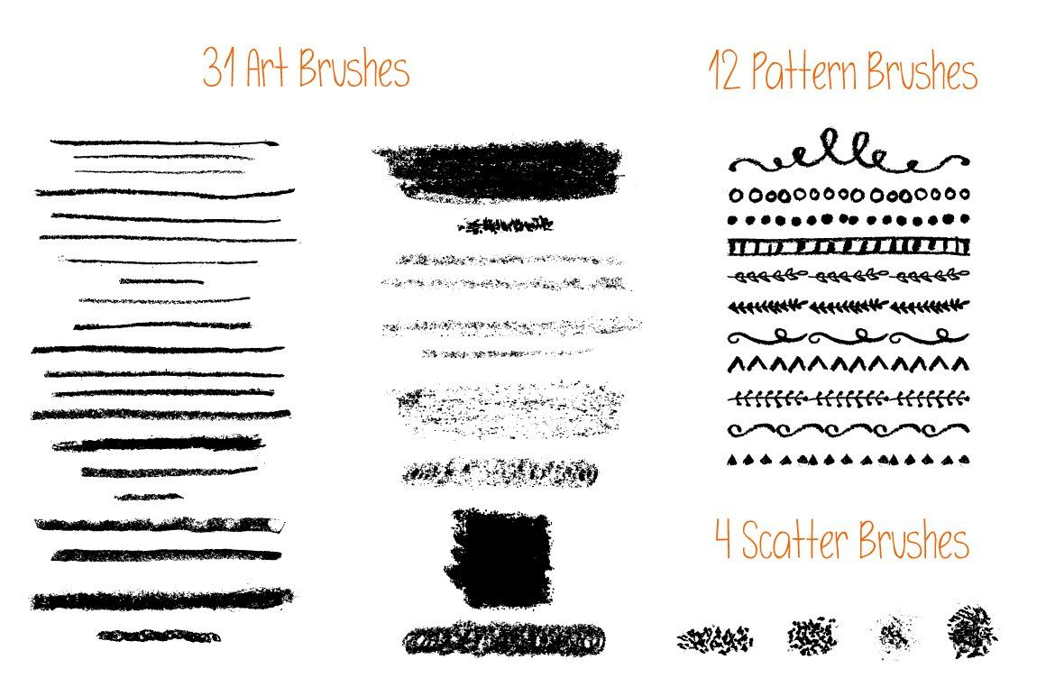 Vector Oil Pastels Brushes Oil Brushes Vector Ad