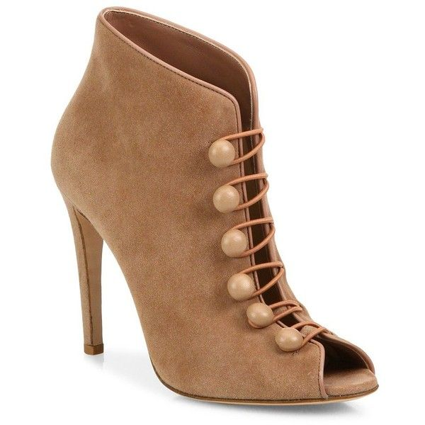 Gianvito Rossi Suede Button-Strap Peep-Toe Booties ($1,035) ❤ liked on