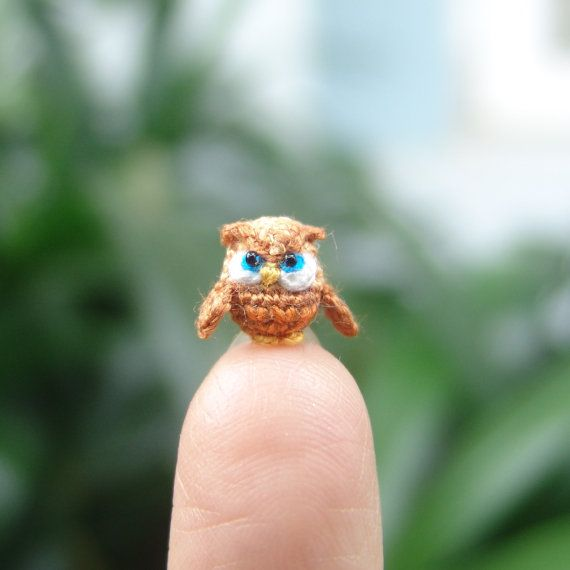 1/3 inch miniature owl  micro amigurumi animal by LamLinh on Etsy, $34.49 - LET ME BE CLEARI WANT THIS VERY BADLY!!
