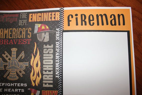 12 x 12 fireman premade scrapbook layout . by creationsbycindyg