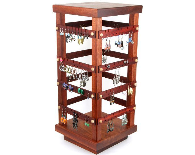 Tom's Earring Holders Large Bloodwood Four Sided Spinning Earring Mesmerizing Revolving Jewelry Display Stand