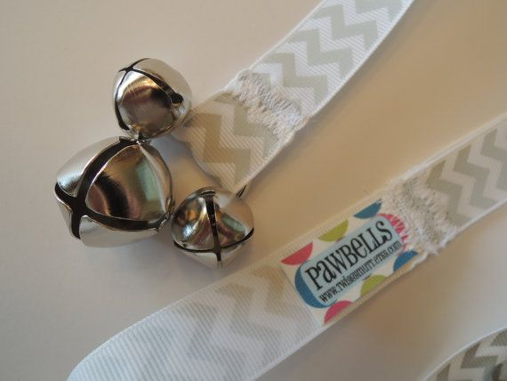 Paw Bells, Dog Potty Trainer, In Grey Chevron, Instructions Included