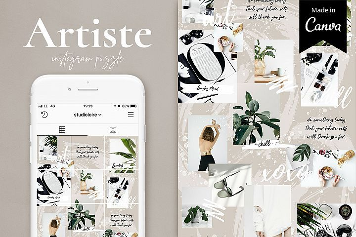 Artiste Instagram puzzle template for Canva | Graphics and