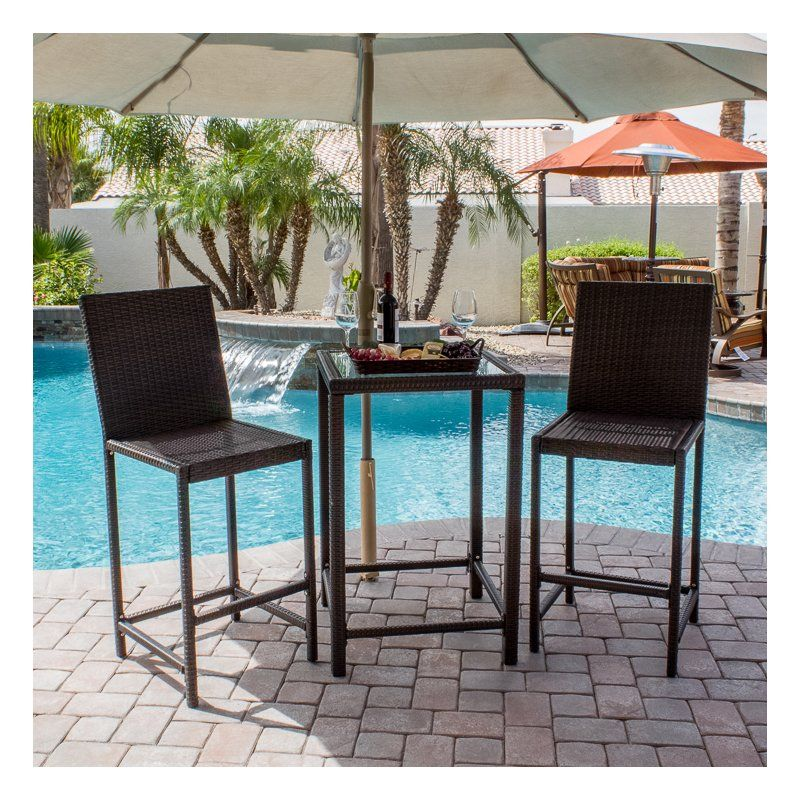 The Gorgeous Mercury Row Reg Corlane 3 Piece Bar Height Bistro Set Is The Perfect Blend Of Style And Funct Bistro Patio Set Wicker Dining Set Patio Dining Set
