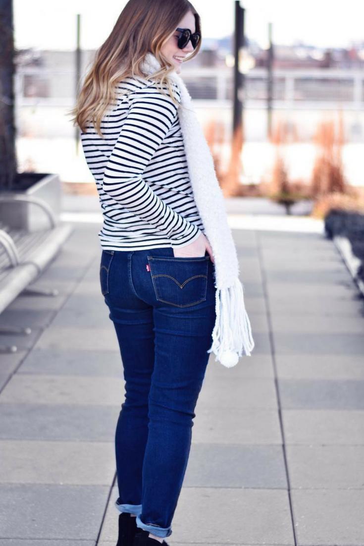 a9a03efa982b Long sleeve stripe shirt outfit | Black and white long sleeve stripe shirt  outfit | Stripe