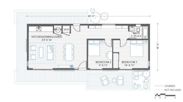 Blu homes origin floorplan 2 bedrooms 1 bathroom