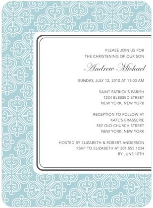 Divine Pattern - Baptism, Christening Invitations - DwellStudio - Peppermint - Blue : Front