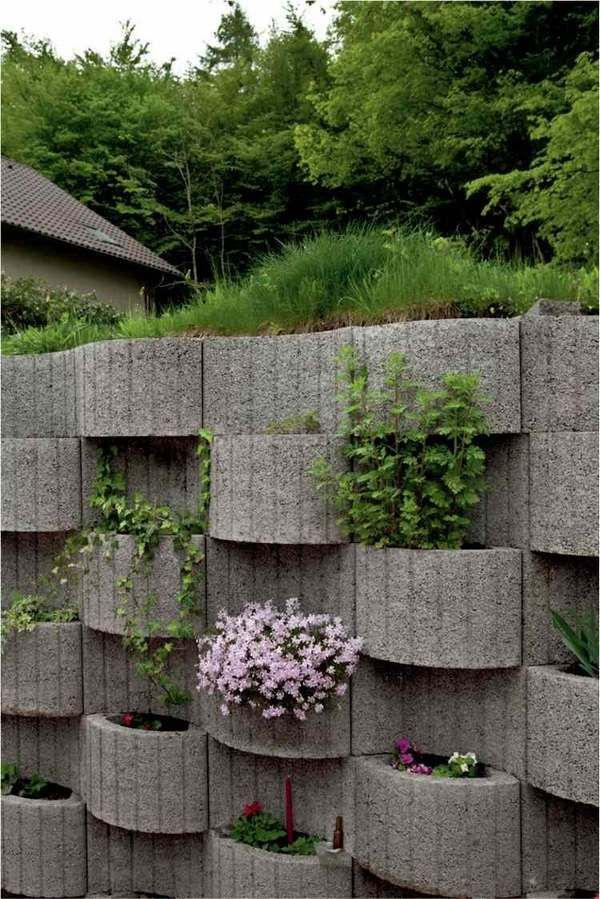 ring planting concrete retaining wall design ideas gray planters