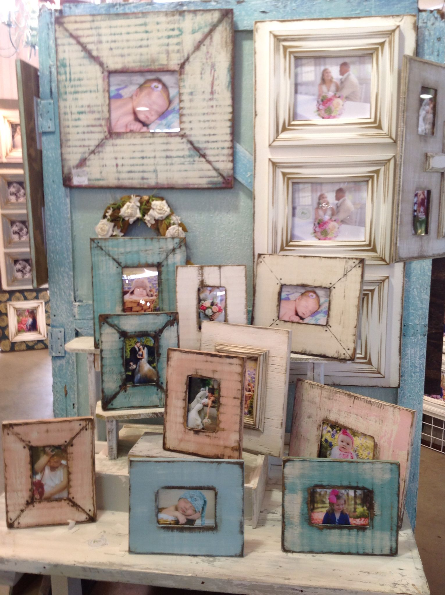 New style- with metal tacks. . Distressed, wooden picture frames ...
