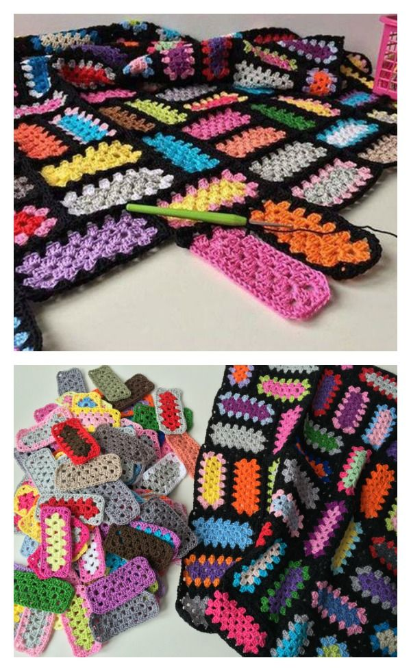 Moderno Granny Crochet Cuadrado Patrón Afgano Bandera - Manta de ...