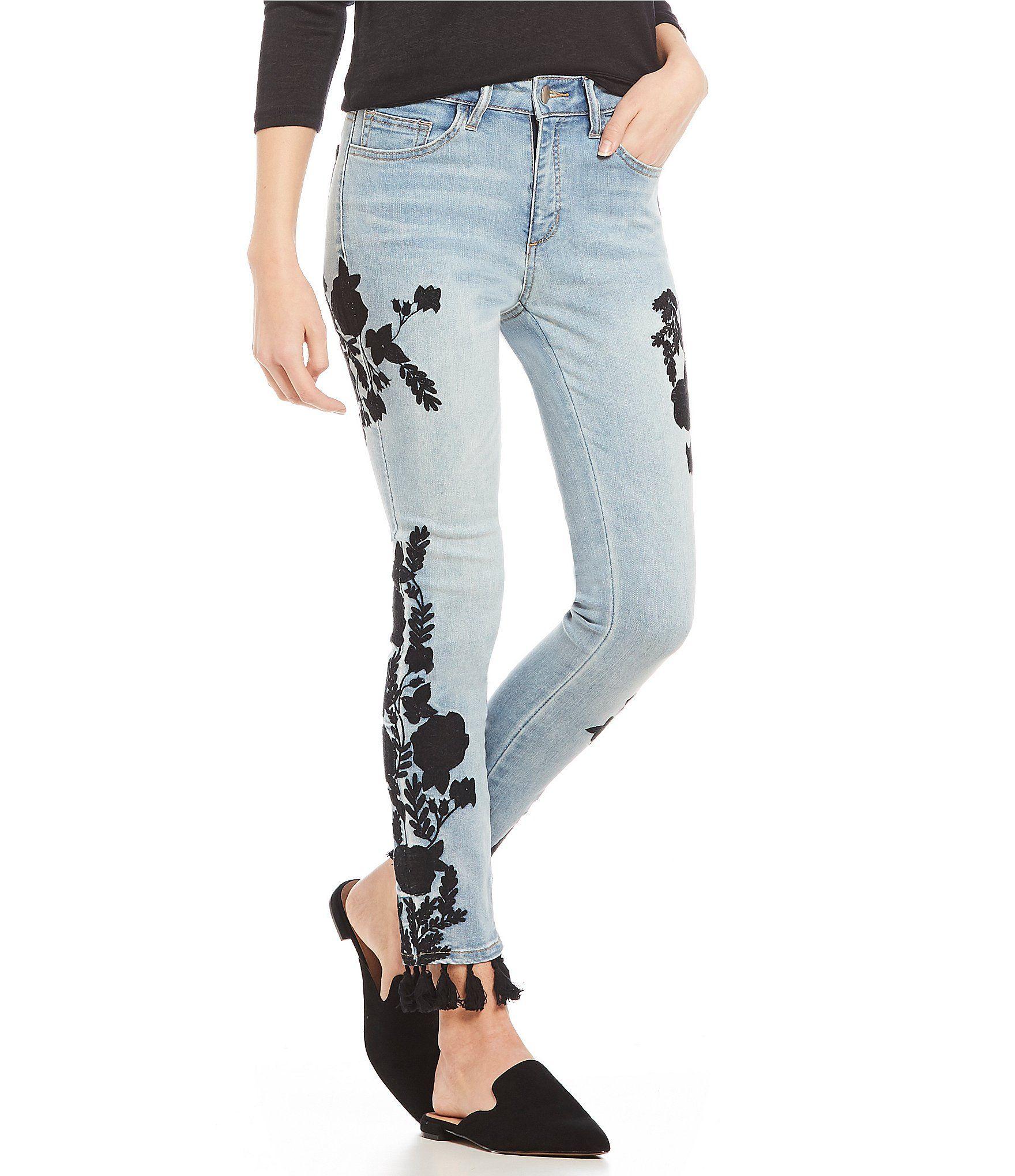 9a39be7b Shop for C&V Chelsea & Violet Embroidered Tassel Hem Skinny Jeans at ...