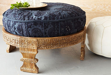 Traditional Hindu Carved Footstool From India Chakki