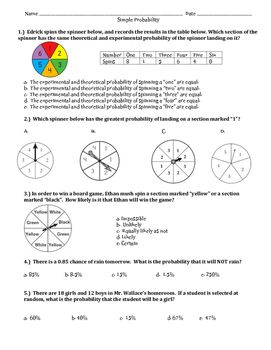 Probability of Simple Events ~ 7th Grade ~Multiple choice Assessment or review