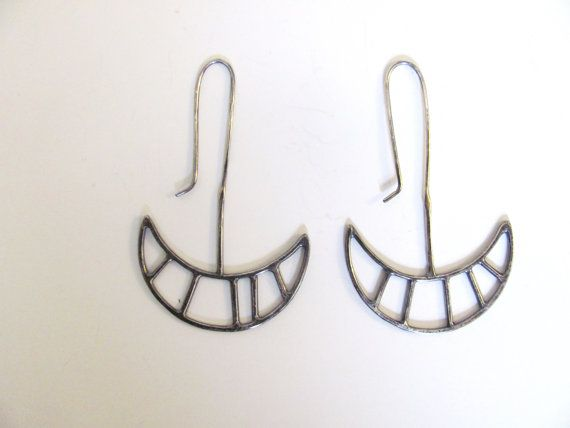 Silver Crescent Drop Earrings    silver  oxidized  height 2  length 1.5