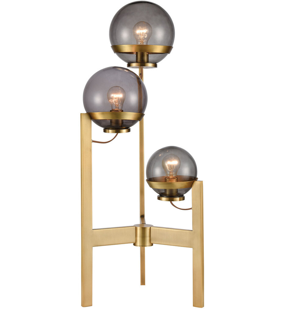 Elk Home D4247 South Water 3 Light Table Lamp In Antique Brass And Smoked Glass In 2020 Smoked Glass Light Table Elk Home