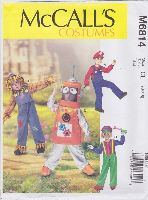 Robot Conductor Scarecrow Clown Costume Sewing Pattern McCalls 6814 ...