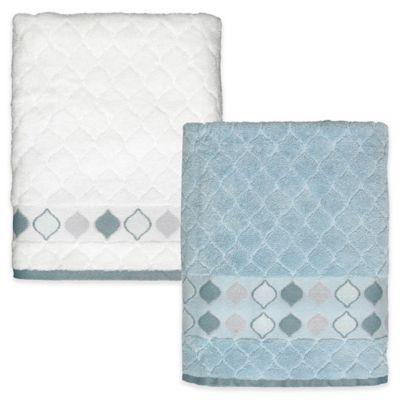 Shell Rummel Sea Glass Bath Towel In Slate Blue Bath Towels