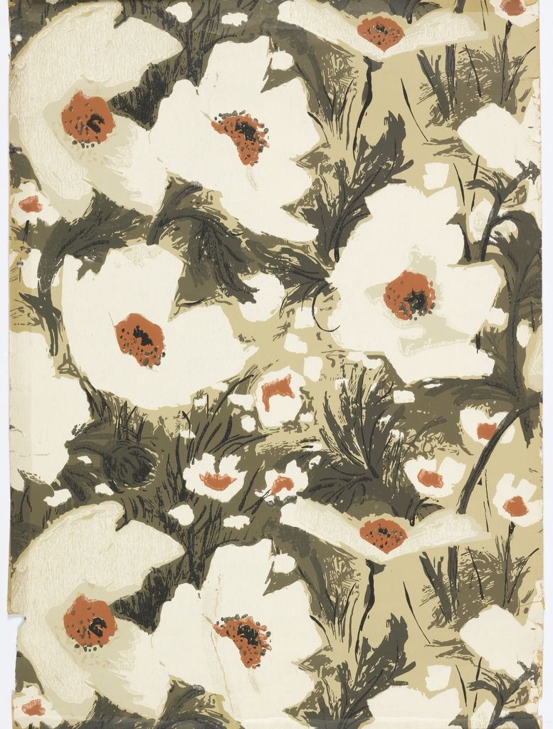 """Sidewall, """"Giant Poppies"""", 1966  #pattern #texture"""