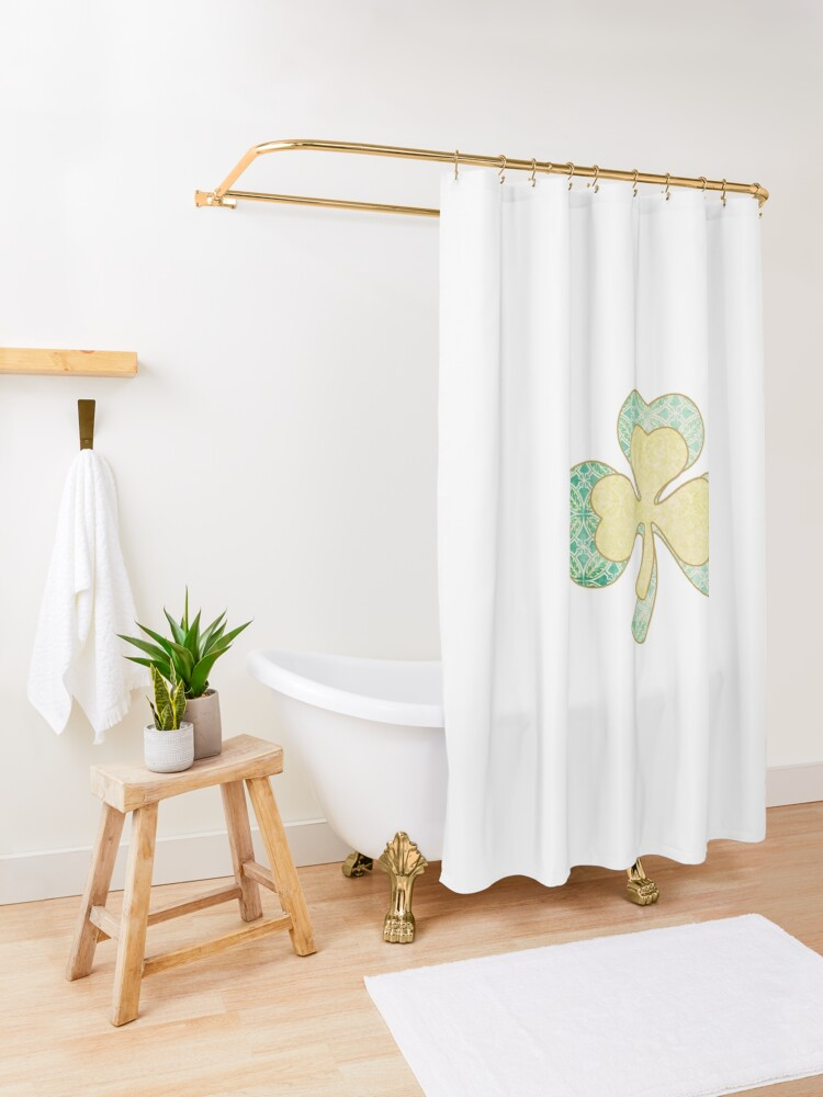 Shamrock Paper Scissors Lime Sublime Shower Curtain By