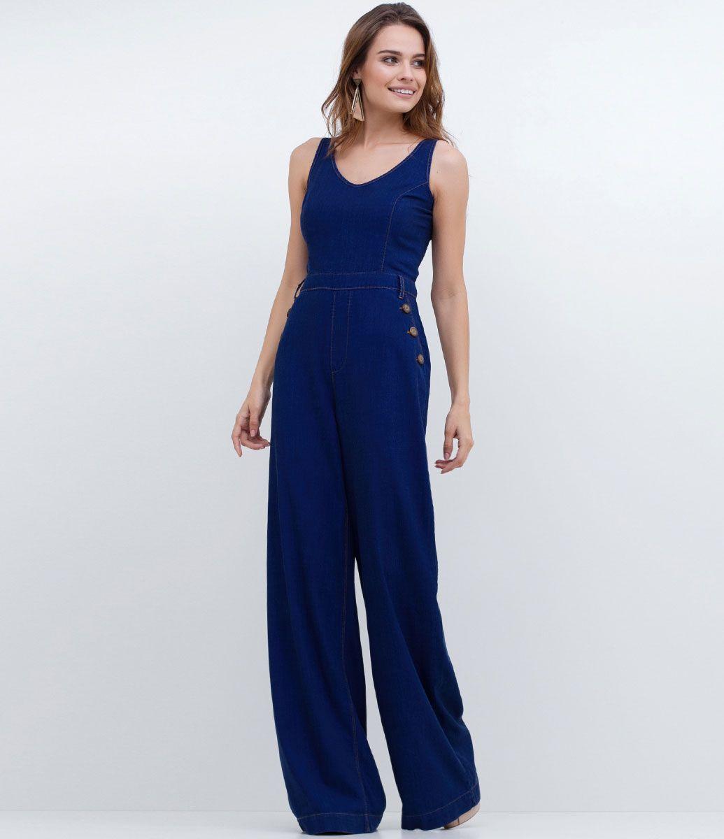d4184358af Macacão feminino Modelo longo Com botões Com zíper Marca  Blue Steel  Tecido  jeans Composição  100% algodão Modelo veste tamanho  P Medidas da  modelo  ...