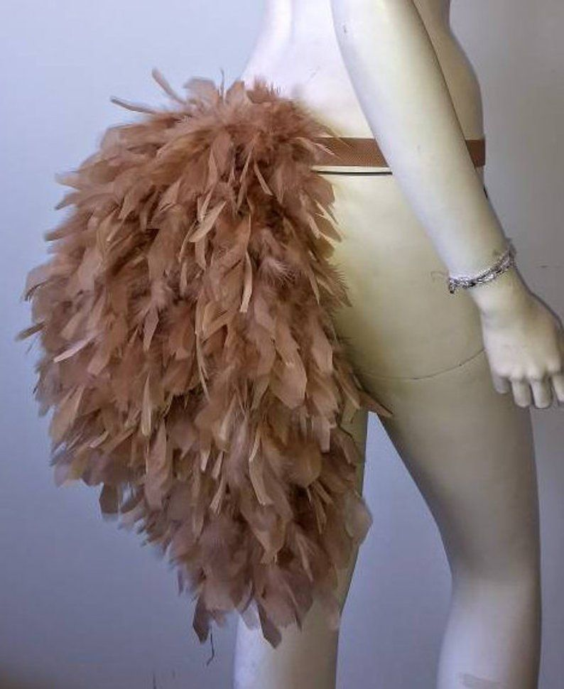 Burlesque Dancer Feather Short Tie On Bustle White Red Black Pink Showgirl