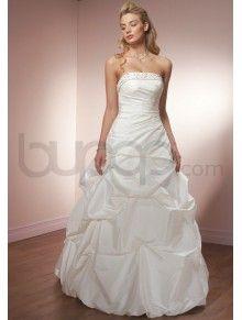 A-Line Luxe Taffeta Ruching Corset Bodice Strapless Neckline Chapel Train Wedding Dresses(ML6106)