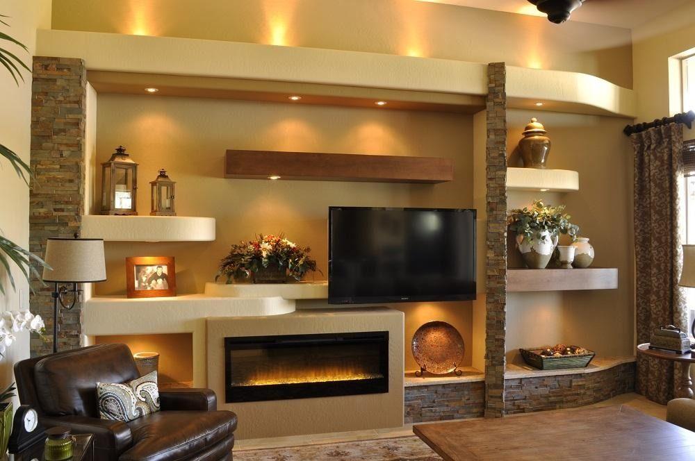Centros de entretenimiento confeccionados en drywall en for Living room entertainment ideas