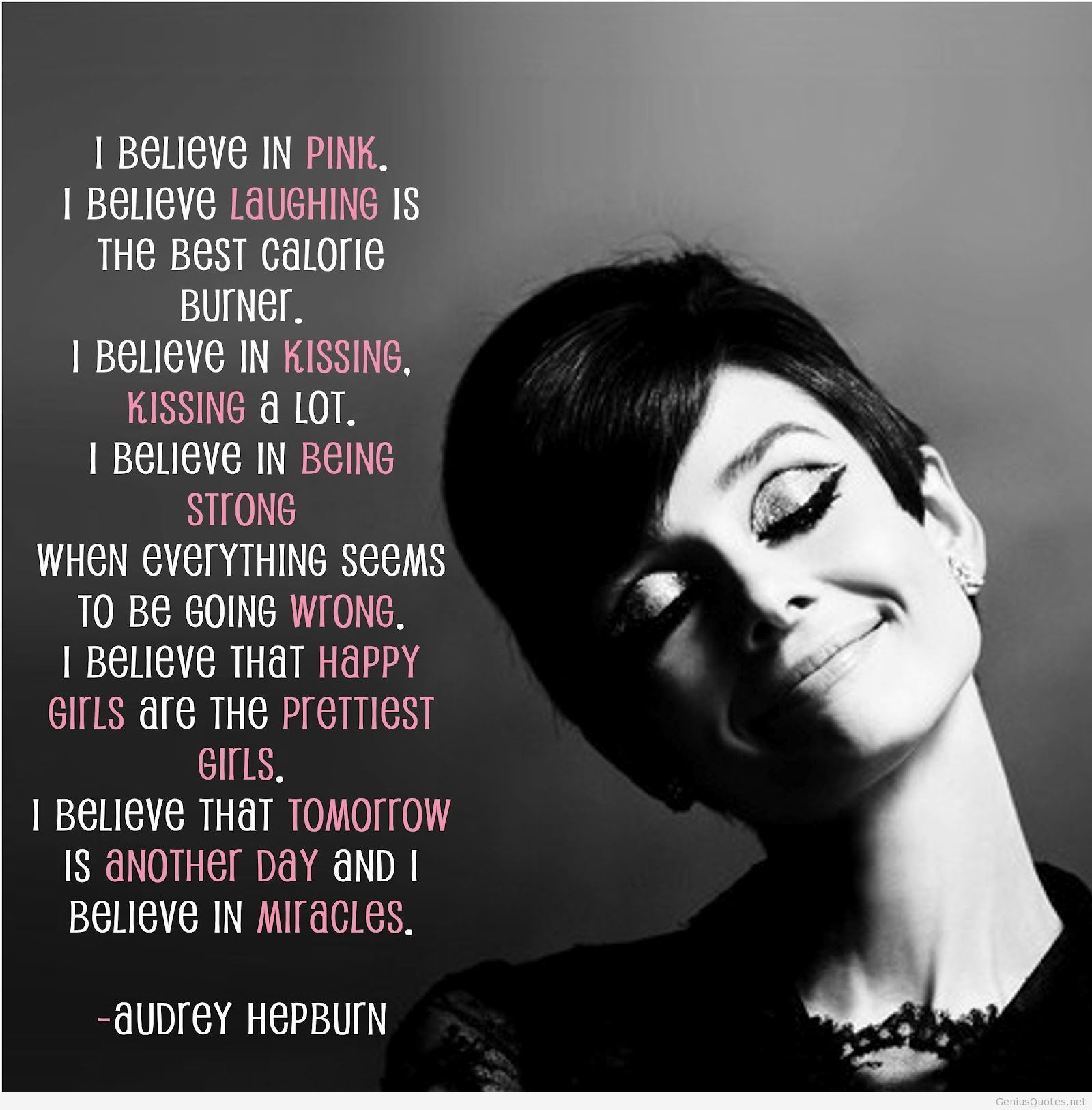 Quotes On Women I Believe In Pink  Woman Audrey Hepburn Quotes And Wisdom
