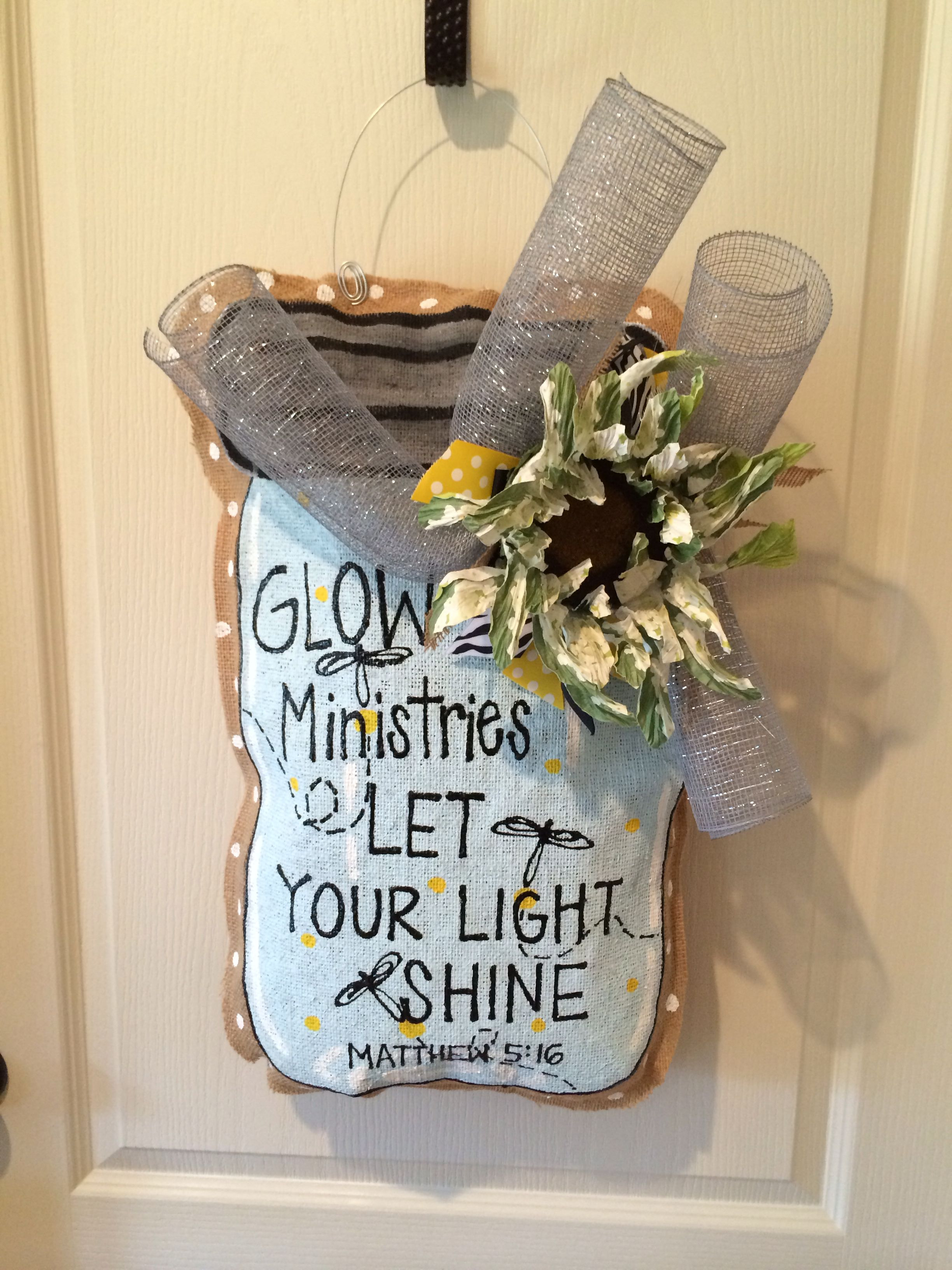Let your light shine mason jar burlee hanger