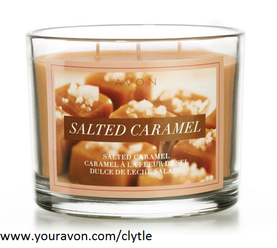 "Avon Home Autumn Fragrance Salted Caramel Candle $19.99. Fragrant like your favorite fall beverage: Notes of caramel, toffee, sugar cane and vanilla malt. Wax in 11 oz. glass jar with brushed metal cover. 3 1/2"" H x 3 3/4"" diam. Made in the USA. 30 hours of burn time."
