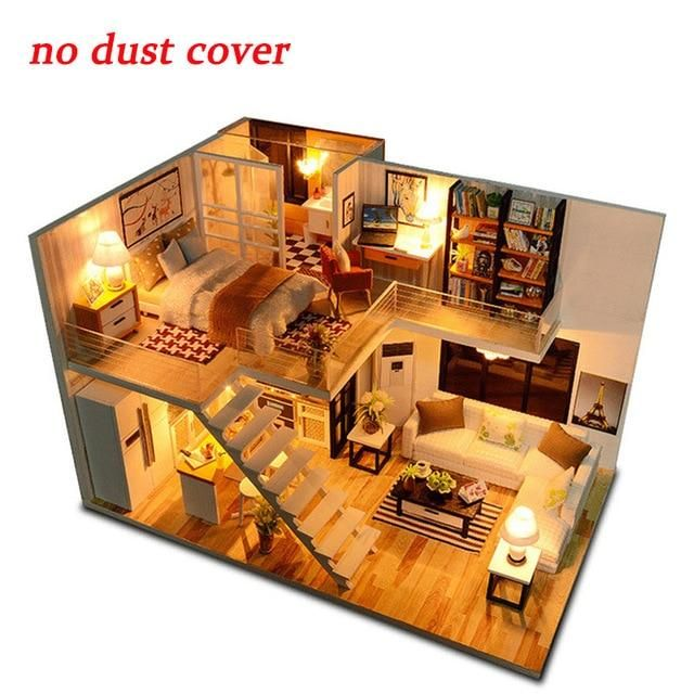Diy Miniature Dollhouse Model Doll House With Furniture Building Kits Wooden Dolls House Furniture Tiny House Design House Layouts