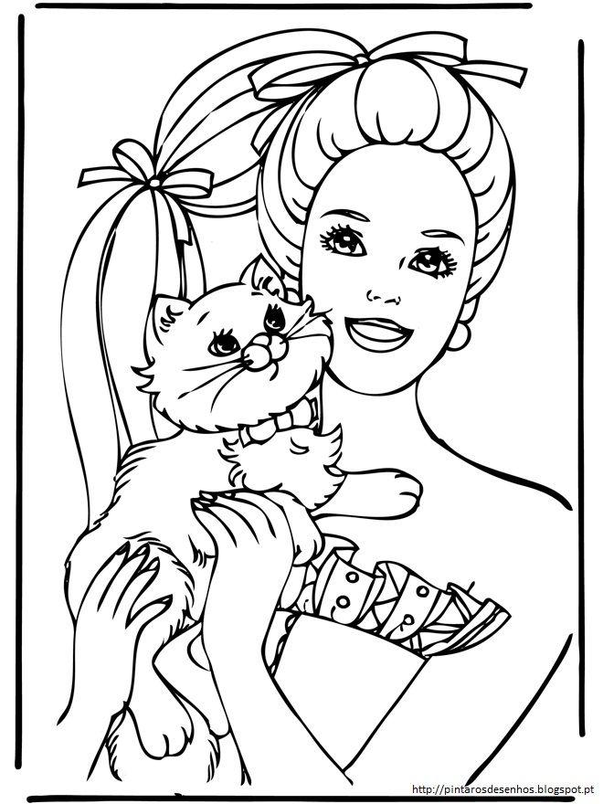 Desenhos Barbie Colorir Gato Com Imagens Colorir Barbie