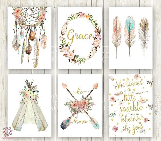 Boho wall prints dreamcatcher print GIRLS WALL PRINTS Girls Nursery prints